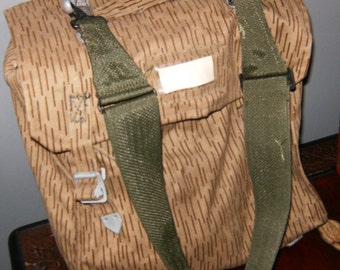 East German Military Rain Camo Bag + Backpack - 70s-80s Cold War E. German Water Resistant Army Ruck Sack
