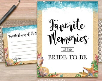 Favorite Memories of the Bride To Be  - Printable Beach Bridal Shower - Bridal Shower Games 028