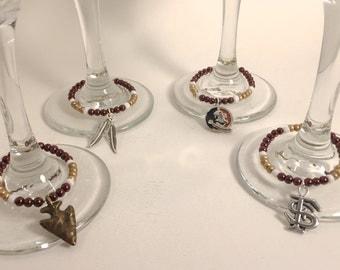 fsu wine glass charms | fsu charms | 4 fsu wine glass charms | FREE SHIPPING in US | fsu wine charm set