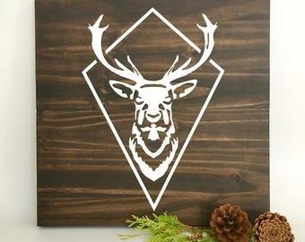 Buck Painting, Deer Painting, Wood Wall Art, Buck Bust Art, Buck Head, Hunter Painting, Home Decor, Wall Decor, Deer Bust, White Deer Art