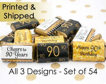 Happy 90th Birthday Party Favors - Gold & Black - Cheers to 90 Years Old - Decoration Stickers for Hershey's Miniature Bars (Set of 54)
