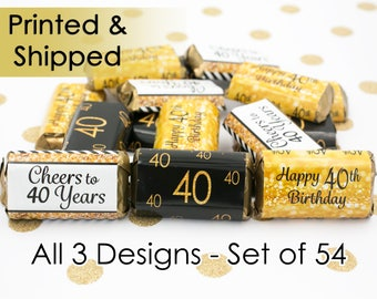 Happy 40th Birthday Decorations - 40th Birthday Gold & Black Party Favors - 40th Birthday Decor - 54 Stickers for Hershey's Miniature Bars