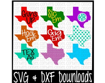 Texas SVG * Texas Monogram SVG Cut File - dxf & SVG Files - Silhouette Cameo, Cricut
