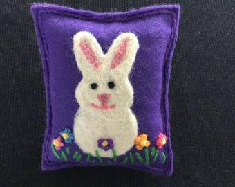 Easter Bunny And Spring Flowers Needle Felted Maine Balsam/Pine/Fir Sachet