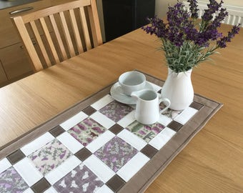 Quilted table runner, Westie table runner, quilted patchwork table topper, purple table runner, thistles, kitchen decor, table mat