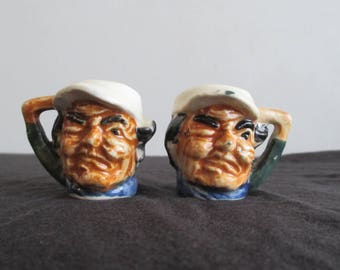 Vintage Toby Winking Sailor Captain Salt And Pepper Shakers
