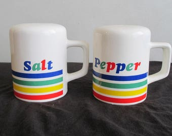 Vintage 1980s Rainbow Salt & Pepper Shakers
