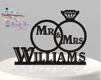 "Wedding Cake Topper | Custom Wooden Cake Topper | Personalised Wooden Cake Topper | Custom Engagement Cake Topper - ""Mr & Mrs Surname"""