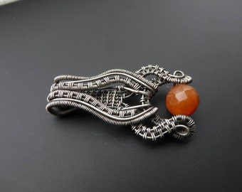 Aventurine pendant, wire wrapped pendant, gemstone jewelry, autumn pendant, silver pendant, silver jewellery, orange aventurine,