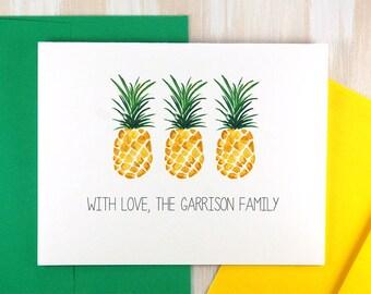 Family Stationary Set, Housewarming Gift, Personalized Wedding Thank You Cards, Southern Hospitality, Pineapple Stationary Set of 10