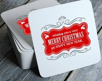 Vintage Wishing You A Very Merry Christmas and Happy New Year Coasters Set of 4