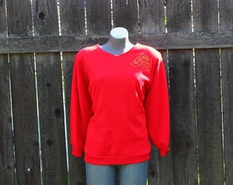 Vintage Sweater, Red Pullover Sweater, Embroidered Stitch, Dolman /Batwing Sleeves, 1950's Style Date Sweater, Retro Style, Red, USA, Size M
