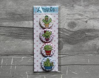 set 4 cactus emoji 1.25 inch button magnets