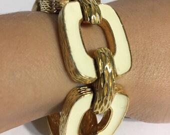 Gold Cream Enamel Hill Bracelet - Bold Bracelet - Chain Bracelet