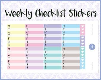Weekly Checklist Stickers | Planner Stickers | Journal Stickers | Diary Stickers - Erin Condren, Happy Planner, Kikki K, Filofax