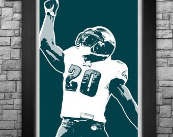 BRIAN DAWKINS team colors limited edition art print. Choose from 3 sizes!