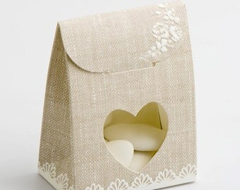 Pack of 10 Pearl Grey Shabby Chic Sacchetto with Heart Window Wedding Favour Boxes