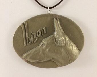 Ibizan Hound Pendant Necklace - Bas Relief