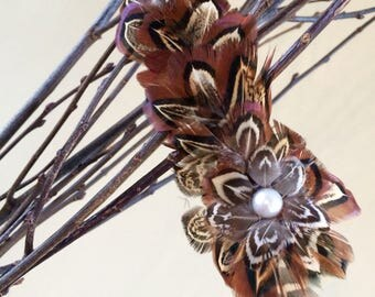 Handselected mixture of pheasant feather hairclip with faux pearl