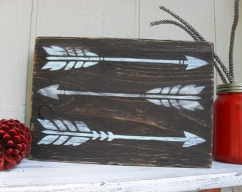 Arrows Painted on Reclaimed Wood Block Rustic Decor Shabby Chic Shelf Sitter Boho Hippie Distressed