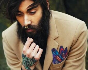 BEETLES Purple Silk Pocket Square Mens Handkerchief Hipster Goth Unusual Wedding Top Pocket Colourful Fashion Accessory Best Man Groom Gift