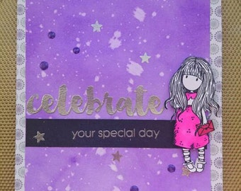 Birthday card, celebrate card, purple and silver.