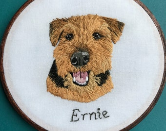 Custom Pet Portrait Hoop Art Embroidery Hoop Art Home Decor Dog Portrait Personalized Embroidery by Hoffelt and Hooper Co