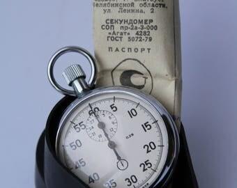 Vintage Soviet stopwatch AGAT, Mechanical chronometer USSR. Working.