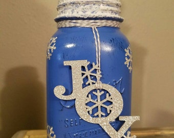 Hand Painted and Distressed Winter inspired Mason Jar