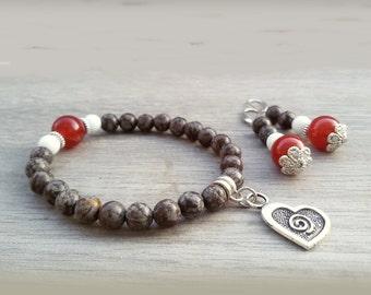Heart bracelet Obsidian Stretch bracelet for Wife stone Gift for Girlfriend jewelry gift for Her Love Jewelry set Heart Stone bracelet