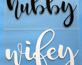 Hubby iron on decal,wifey iron on decal.