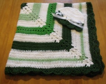 """NEW Handmade Crochet 30"""" Baby Blanket and Hat/Beanie Set - Jets or Eagles Green & White Striped - A Wonderful Baby Shower Gift!! - SEE NOTE!"""
