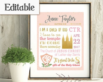 INSTANT DOWNLOAD, Editable LDS Baptism Subway Art, Girl Baptism, Poster baptism, Printable baptism, Gift Idea for Girls, Primary Gift