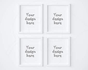 set of 4 mockup 8x10 frame mockup white frame mockups digital product mock up white background styled stock photography best sellers