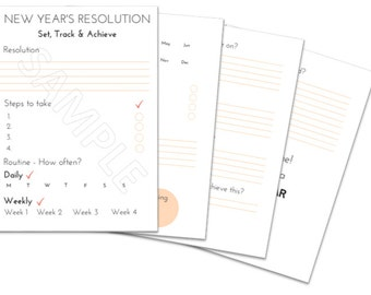 New Year's Resolution Guide, Resolutions printable, Goals printable, New Year planner, resolution tracker, resolutions goals