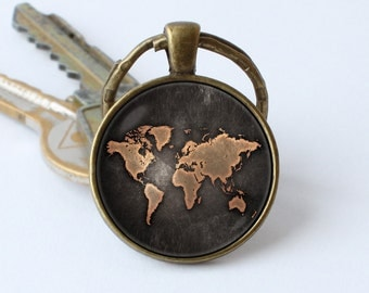 Globe key chain etsy vintage map keychain map jewelry old map keyring world map key ring traveler gift map pendant sciox Images