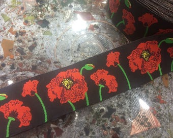 "1.5"" Wide Beautiful Poppies Embroidered Jacquard Ribbon_Imported"