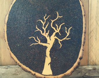 Hand Wood Burned Tree Sign