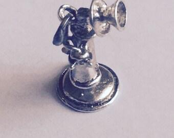 Daffodil telephone charm sterling silver charm vintage # 358
