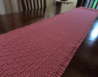 "1980's Dusky Rose Pink Heavily Woven Table Runner 71"" Long and 12"" Wide"