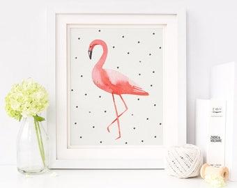 Flamingo Nursery Print, Flamingo Nursery Wall Art, Flamingo Digital Download, Watercolor Flamingo Print, Flamingo Digital Printable, Pink