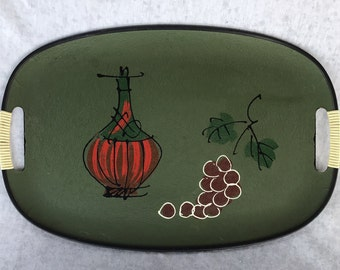 Vintage Serving Service Tray Japanese Green Painted grapes