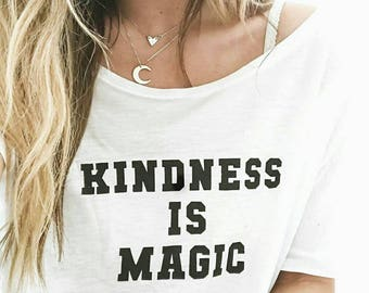 KINDNESS IS MAGIC White Off Shoulder Tee