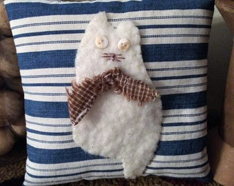 Kitty Cat Pillow Tuck Blue Ticking Shabby Primitive Pin Cushion Applique Farmhouse FAAP