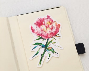 Peony Water Resistant Stickers, Iphone Stickers, Ipad,  Peony Stickers, Water Resistant Sticker