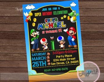 Super Mario Party Invitation, Super Mario Birthday Invitation, Super Mario  Birthday Party Invitation, Mario and Luigi,  Digital File