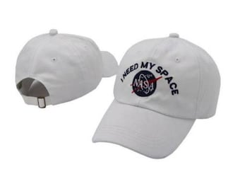 White embroidered nasa 'I need my space' dad hat