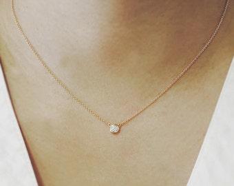 Diamond Necklace, Brilliant Cut, Minimalist Necklace, 0.11 Ct. Dainty Diamond Bezel Necklace, Diamond Solitaire Necklace
