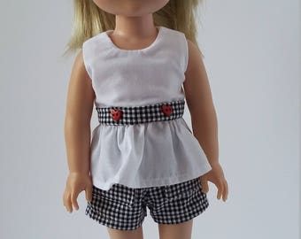 "14.5"" doll clothing -gingham shorts and white peplum top with matching trim"