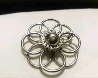 Sterling Silver 925 Flower Brooch/Pin
